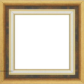 Cadre bois largeur 5.2cm or gorge bleu fond or marie louise crème filet or intégrée - 50x50