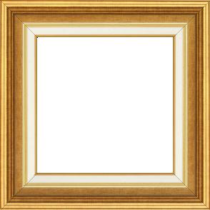 Cadre bois largeur 5.2cm or gorge or marie louise crème filet or intégrée - 50x50