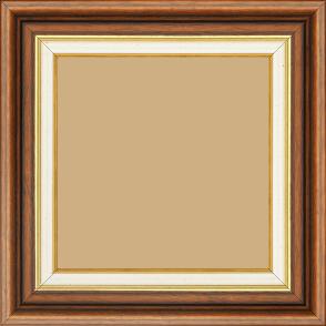 Cadre bois largeur 5.2cm marron rustique  marie louise crème filet or intégrée - 80x100