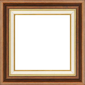 Cadre bois largeur 5.2cm marron rustique marie louise crème filet or intégrée - 50x50