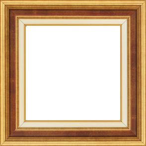 Cadre bois largeur 5.2cm or gorge bordeaux fond or marie louise crème filet or intégrée - 46x38