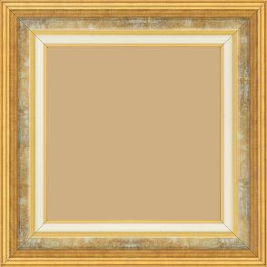 Cadre bois largeur 5.2cm or gorge gris fond or  marie louise crème filet or intégrée - 28x34