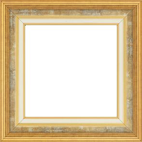 Cadre bois largeur 5.2cm or gorge gris fond or marie louise crème filet or intégrée - 61x46