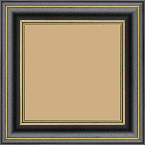 Cadre bois profil bombé largeur 5cm couleur noir satiné filet or - 52x150