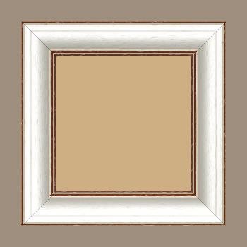 Cadre bois profil bombé largeur 5cm couleur blanchie satiné filet marron foncé - 24x30