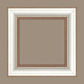 Cadre bois profil bombé largeur 5cm couleur blanchie satiné filet marron foncé - 61x46