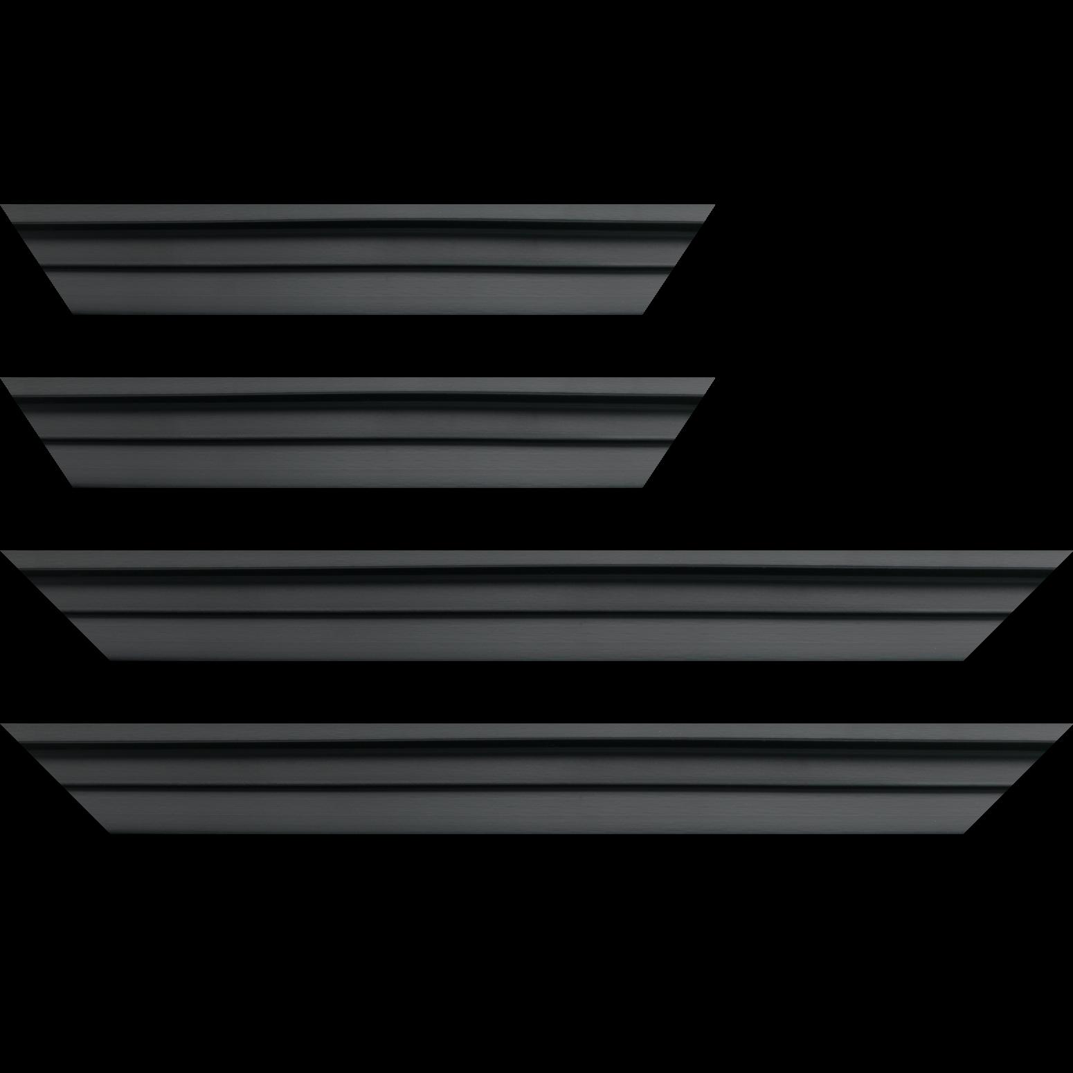 Baguette bois caisse américaine profil escalier largeur 4.4cm noir mat   (spécialement conçu pour les châssis d'une épaisseur jusqu'à 2.5cm )