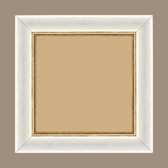 Cadre bois profil incurvé largeur 4.2cm couleur blanchie antique filet or - 24x30