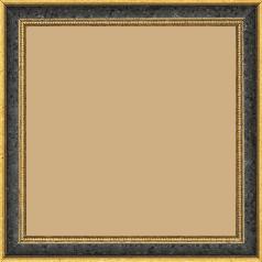 Cadre bois profil incurvé largeur 2.4cm  or antique gorge noir filet perle or - 15x20