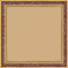 Cadre bois profil incuvé largeur 2.4cm  or antique gorge rouge cerise filet perle or - 60x80