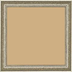 Cadre bois profil incurvé largeur 2.4cm  argent antique gorge argent filet perle or - 15x20