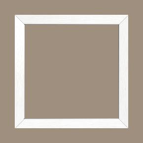 Cadre bois profil plat largeur 2cm hauteur 3.3cm couleur blanc satiné (aussi appelé cache clou) - 55x33
