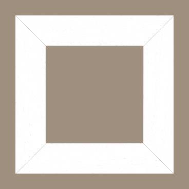 Cadre bois profil plat largeur 5.9cm couleur blanc satiné - 110x110