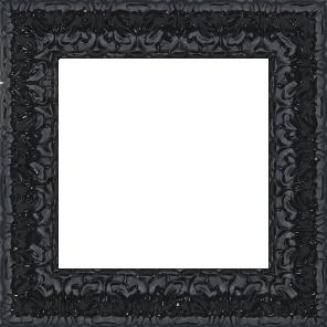 Cadre bois profil incurvé largeur 5.3cm couleur noir laqué style baroque - 61x46