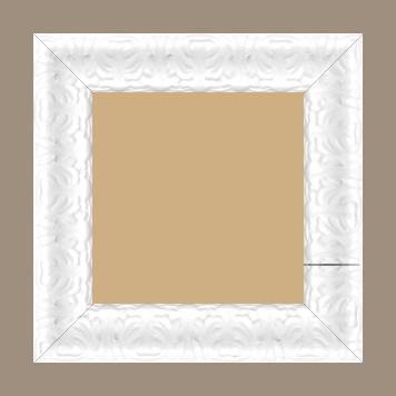 Cadre bois profil incurvé largeur 5.3cm couleur blanc laqué style baroque - 34x46