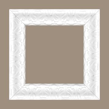 Cadre bois profil incurvé largeur 5.3cm couleur blanc laqué style baroque - 61x46