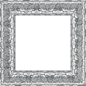 Cadre bois profil incurvé largeur 5.3cm couleur argent ckromé  style baroque - 61x46