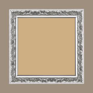 Cadre bois profil incurvé largeur 3cm argent brillant finition baroque - 60x90
