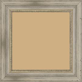 Cadre bois profil incurvé largeur 4cm argent filet perle - 60x90