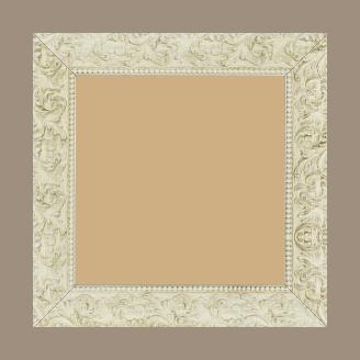 Cadre bois profil plat largeur 3.9cm couleur blanc antique motif rosace filet perle - 24x30