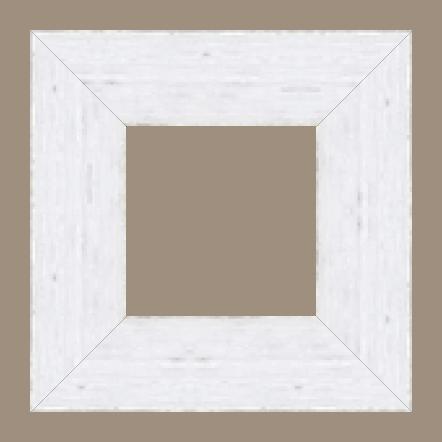 Cadre bois profil plat largeur 9.6cm couleur blanc filet argent chaud sur les bords antique - 61x46