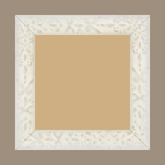 Cadre bois profil plat largeur 4cm couleur blanchie décapé décor frise en relief - 24x30