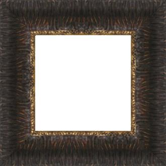 Cadre bois profil inversé largeur 7cm couleur chocolat ancien décor plissé filet or boule - 61x46