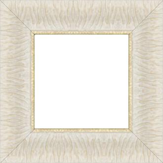 Cadre bois profil inversé largeur 7cm couleur crème ancien décor plissé filet or boule - 61x46