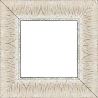 Cadre bois profil inversé largeur 7cm couleur crème ancien décor plissé filet argent boule - 61x46