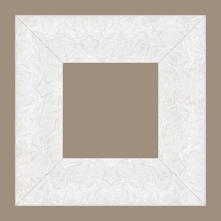 Cadre bois profil plat largeur 9.5cm couleur blanc mat décor étoile - 61x46