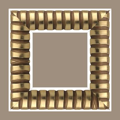 Cadre bois profil demi rond largeur 8.3cm or brillant décor arcade en relief creux marron cuivré - 61x46