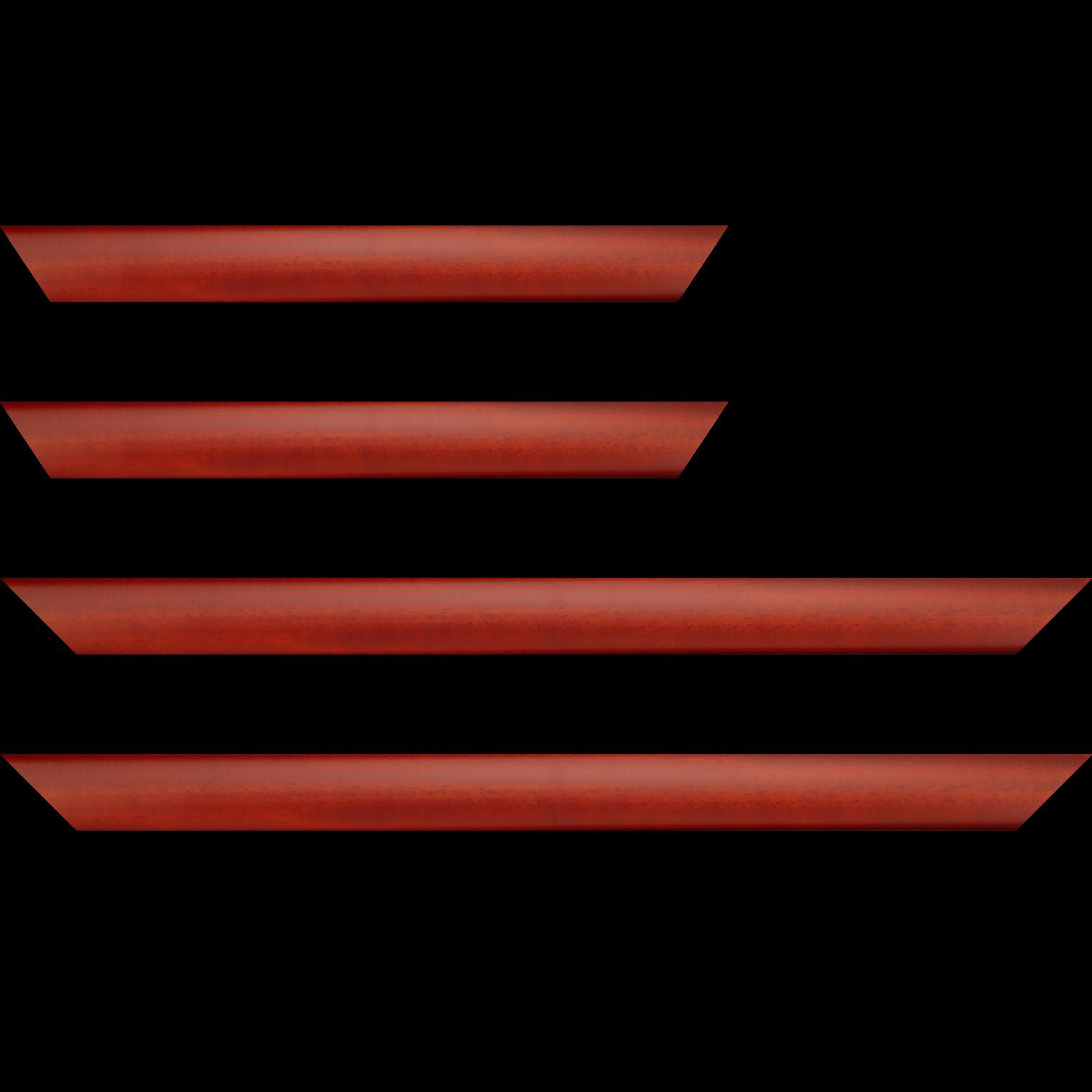 Baguette bois profil méplat largeur 3.7cm couleur rouge cerise satiné effet cube