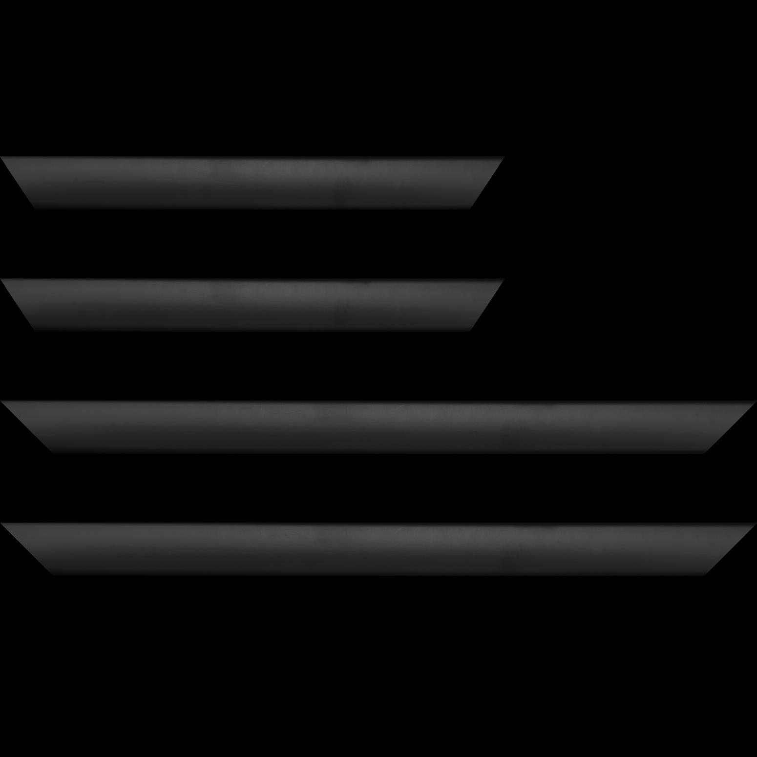 Baguette bois profil méplat largeur 3.7cm couleur noir satiné effet cube