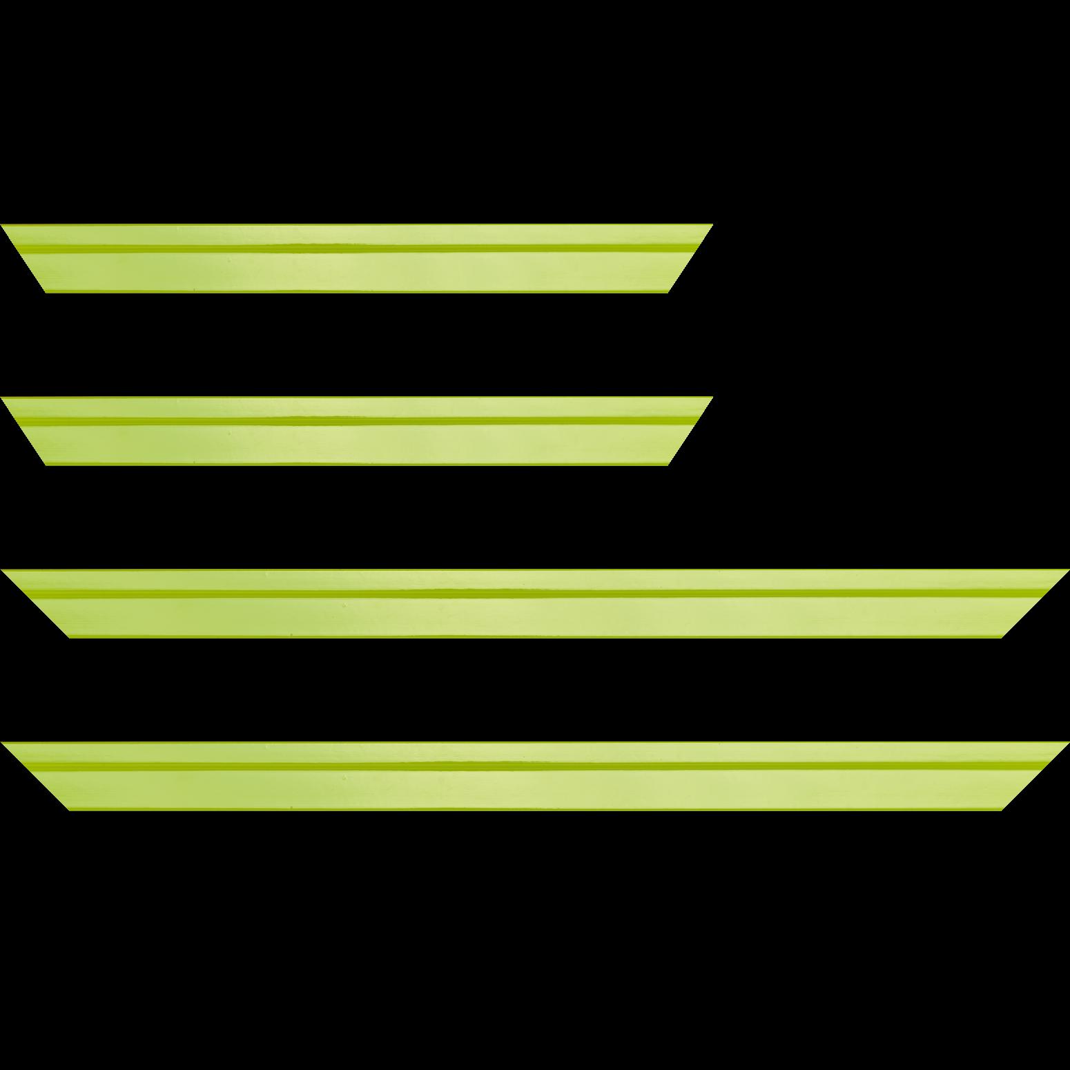 Baguette bois profil plat escalier largeur 3cm couleur citron vert laqué