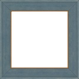 Cadre bois profil incurvé largeur 3.9cm couleur bleu gris satiné filet or - 61x46