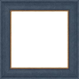 Cadre bois profil incurvé largeur 3.9cm couleur bleu pétrole satiné filet or - 61x46
