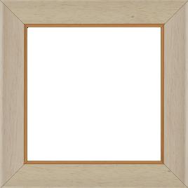 Cadre bois profil incurvé largeur 3.9cm couleur crème satiné filet or - 61x46