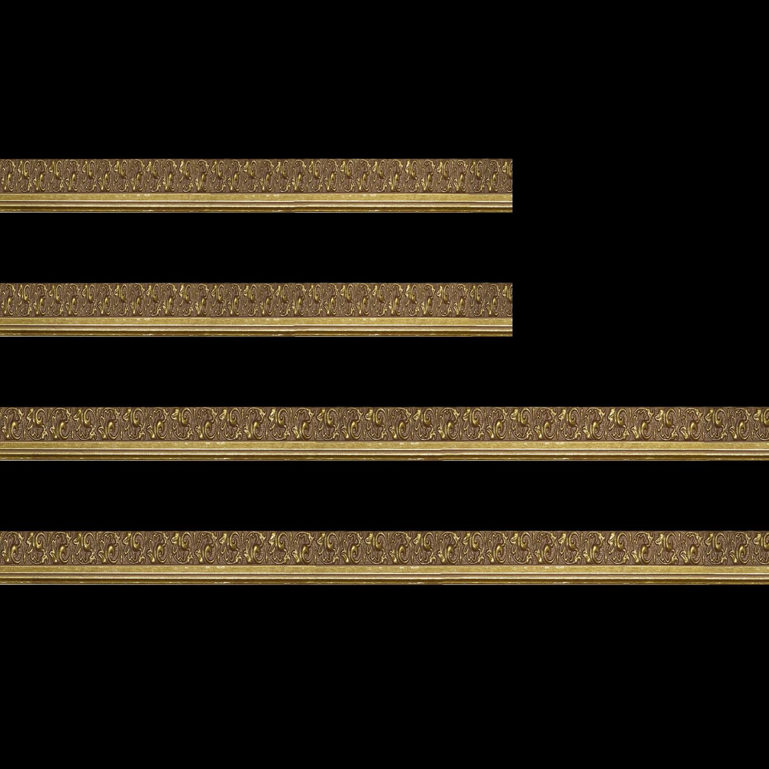Baguette bois profil plat largeur 3.5cm or antique satiné décor frise