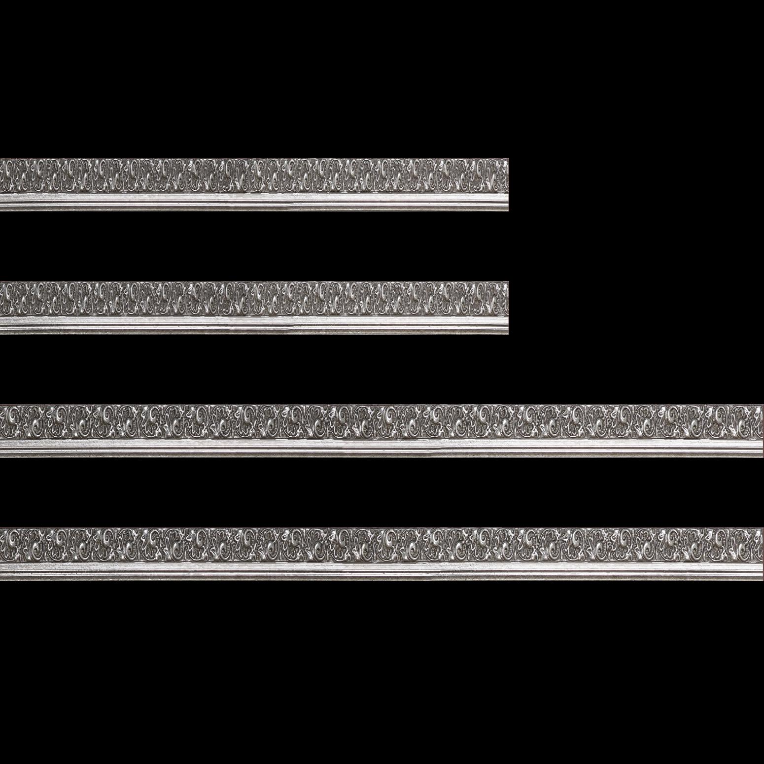Baguette bois profil plat largeur 3.5cm argent froid antique satiné décor frise