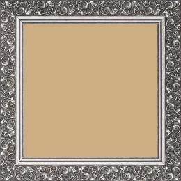 Cadre bois profil plat largeur 3.5cm argent froid antique satiné décor frise - 15x20