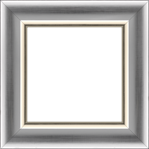 Cadre bois profil incurvé largeur 5.5cm argent froid effet miroir filet or tres pale ckromé - 61x46