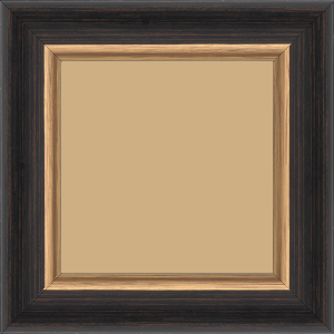 Cadre bois profil incurvé largeur 5.5cm couleur noir fond marron acajou  filet or - 52x150