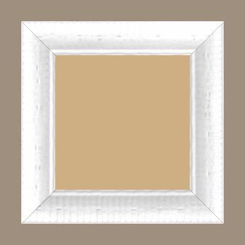 Cadre bois profil arrondi largeur 4.8cm couleur blanc satiné décor bambou - 59.4x84.1