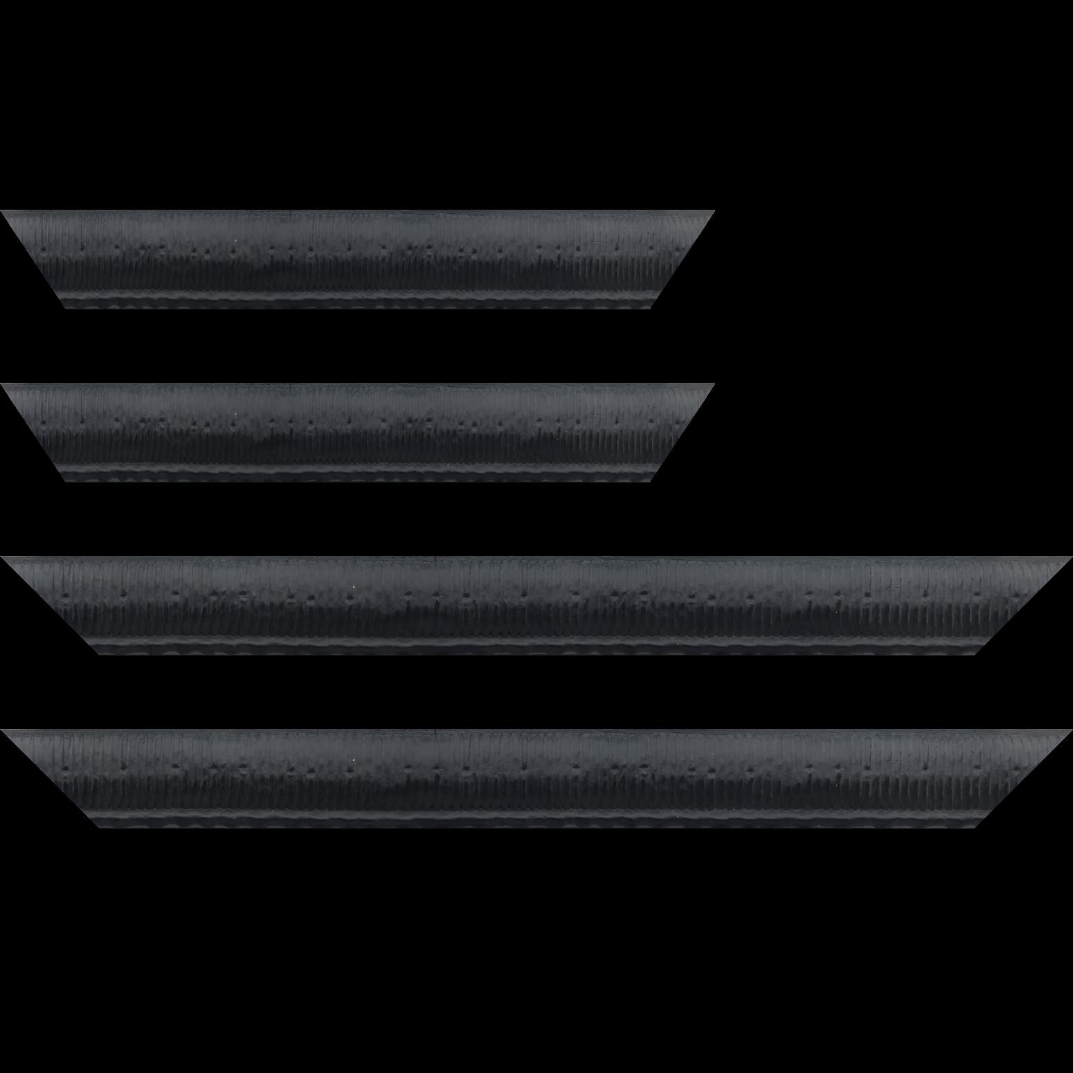 Baguette bois profil arrondi largeur 4.8cm couleur noir satiné décor bambou