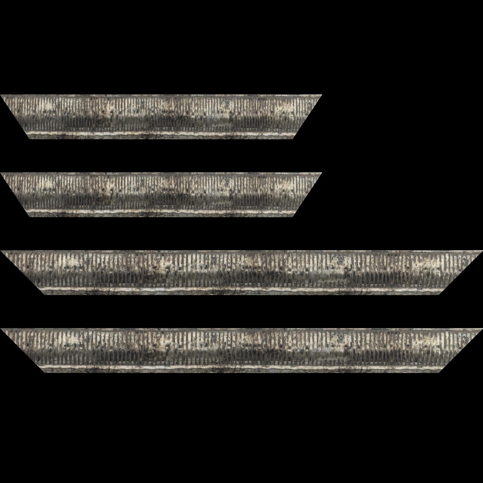 Baguette bois profil arrondi largeur 4.8cm couleur argent noirci  décor bambou