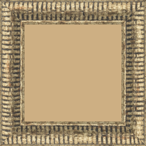 Cadre bois profil arrondi largeur 4.8cm couleur or noirci décor bambou - 59.4x84.1