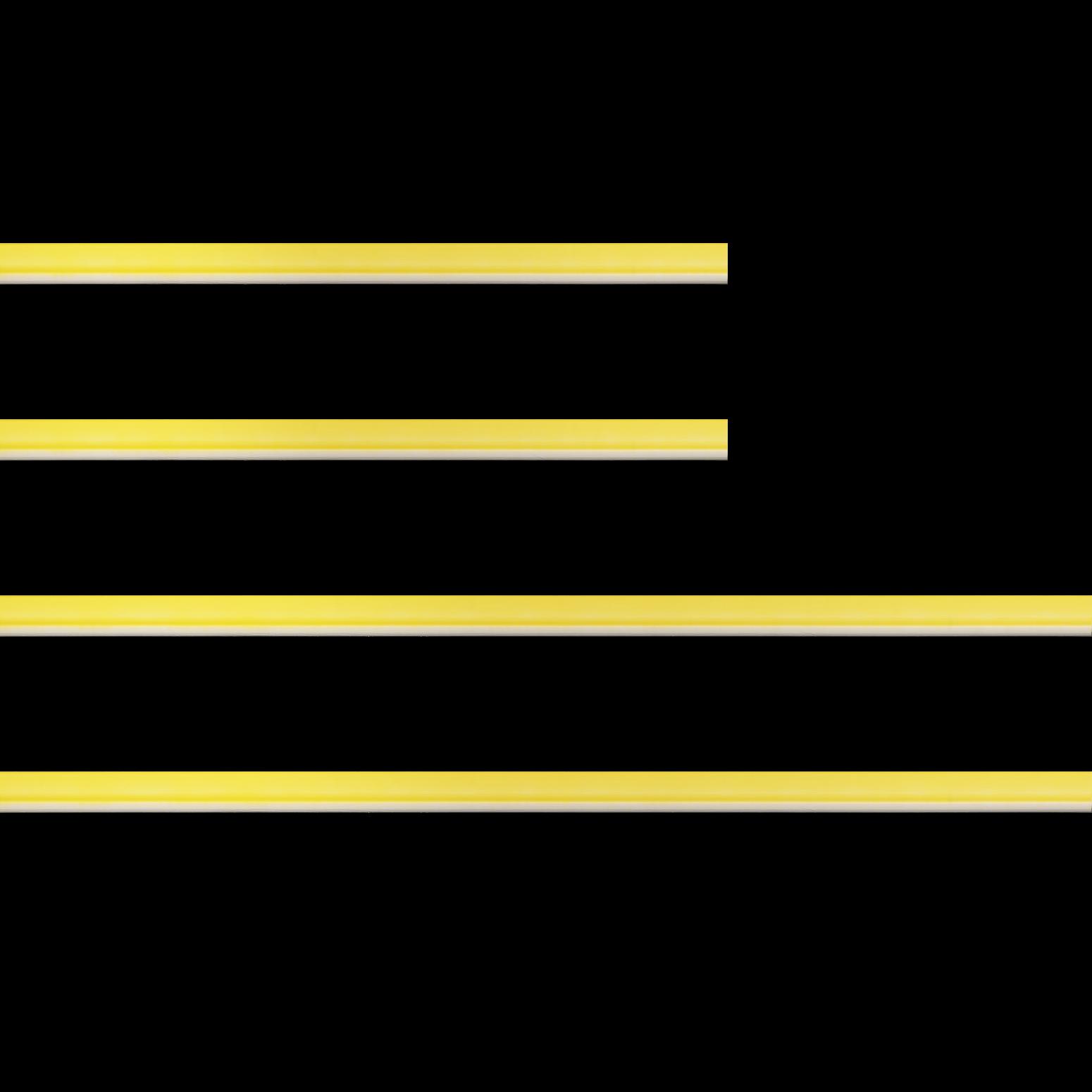 Baguette bois profil incurvé largeur 1.9cm de couleur jaune tonique filet intérieur blanchi