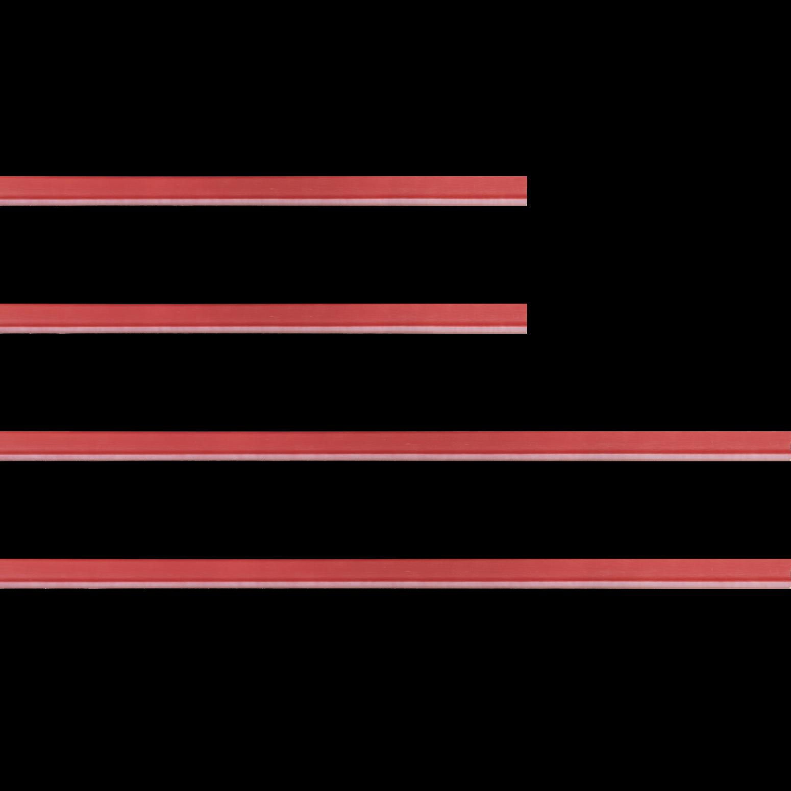 Baguette bois profil incurvé largeur 1.9cm de couleur rouge tonique filet intérieur blanchi