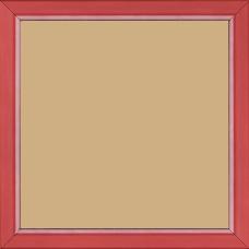 Cadre bois profil incurvé largeur 1.9cm de couleur rouge tonique filet intérieur blanchi - 20x20