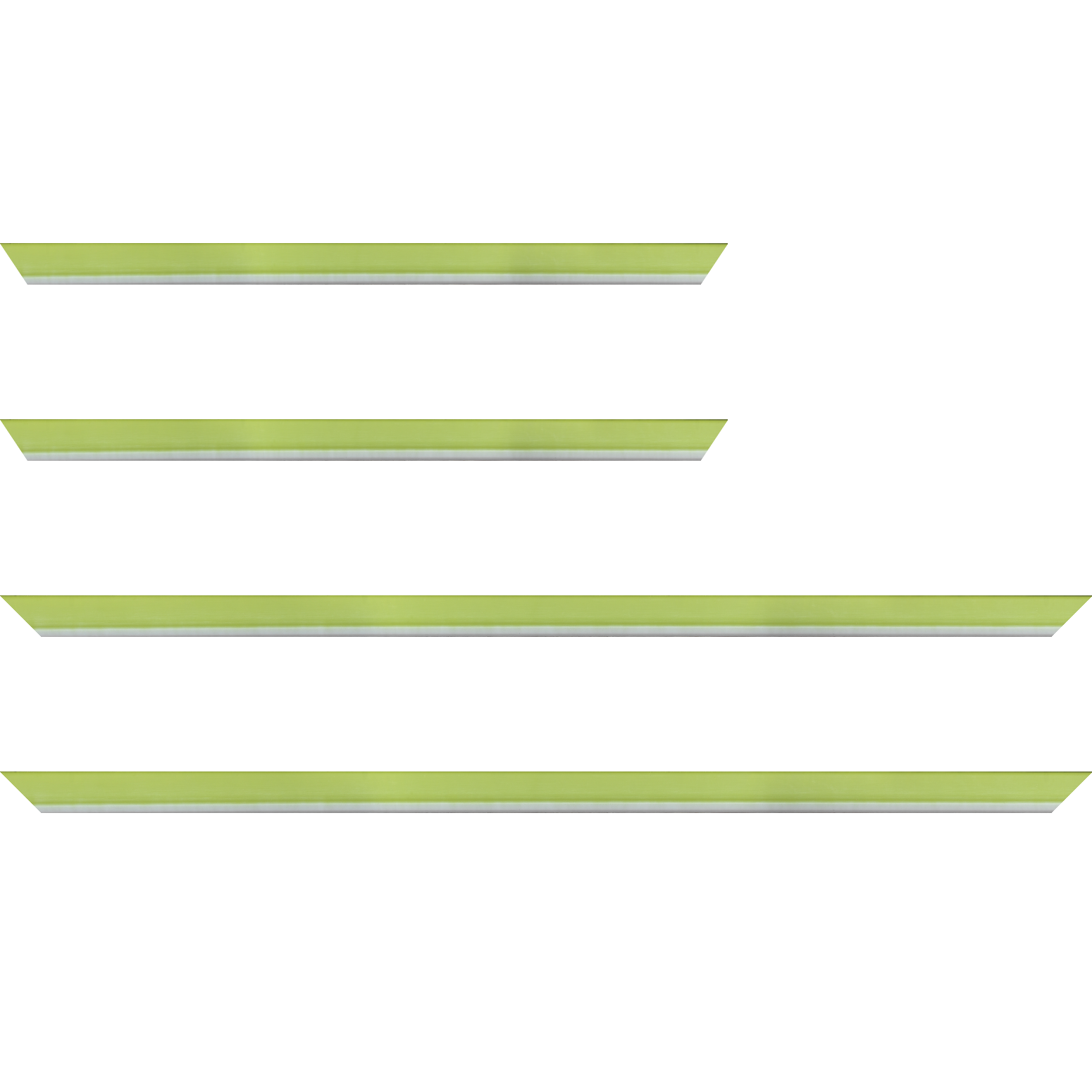 Baguette bois profil incurvé largeur 1.9cm de couleur vert tonique filet intérieur blanchi